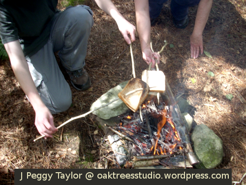 cooking toasties on sticks over the campfire