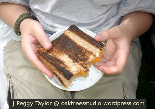A well-cooked campfire toastie!