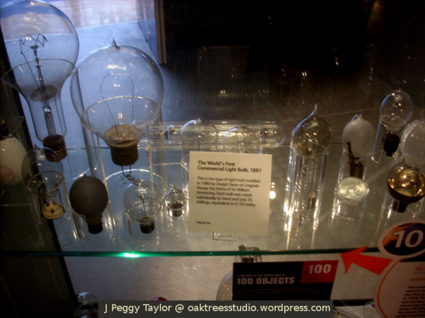 Early commercial lightbulbs on display in the Discovery Museum's Science Maze
