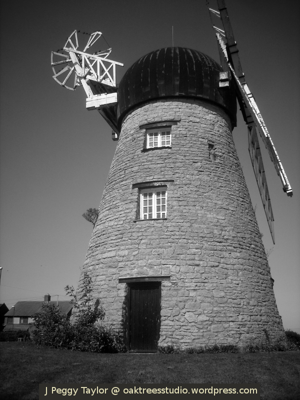 Whitburn windmill - black-white photo